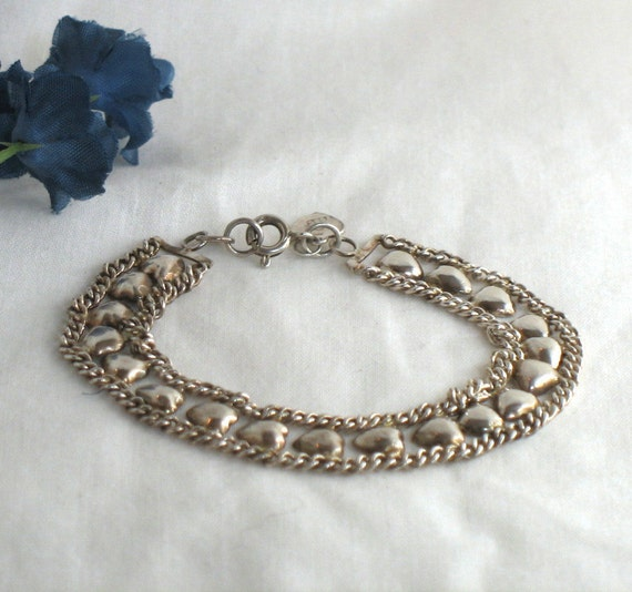 Vintage Sterling Heart Bracelet 7 Inch - 925 Silver Hearts and Links