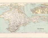 Antique 1885 Map of Crimea Ukriane Sebastopol Russia - Reduced