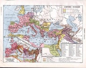 Vintage Color Map of Ancient Roman Empire  from the French Encyclopedia Nouveau Larousse Illustre Plate - Reduced