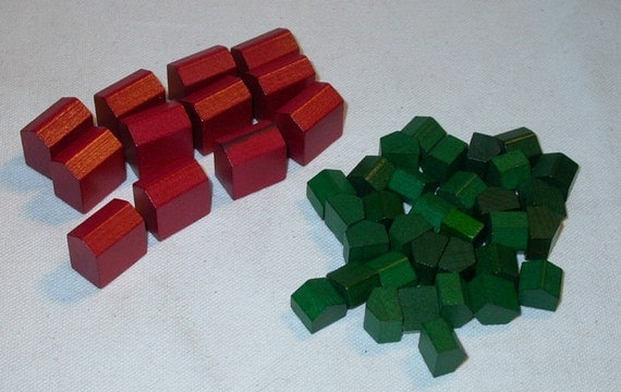 Monopoly Wood Hotels and Houses  Wood Game Pieces
