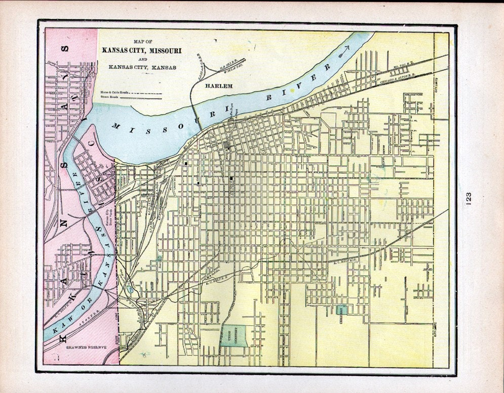 Antique 1901 color street map of kansas city and st joseph for Directions to garden city kansas