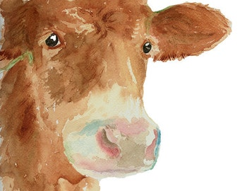 Cow Art Print from Original Watercolor, Cow Wall Art, Country Life Decor, Rranch Style Decor, Calf  Portrait, Giclee Print Farm Animal