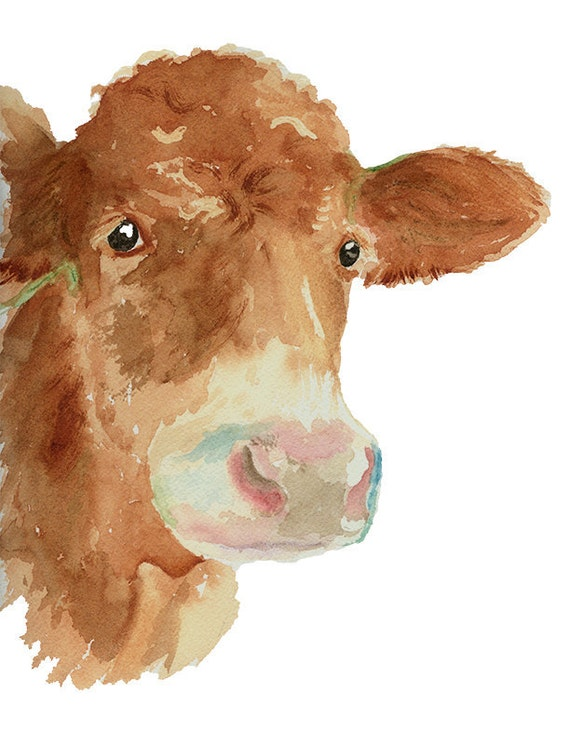 Cow art print from original watercolor cow wall art country for Cow painting print