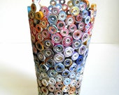 Rolled Paper Vase Sculpture Upcycled from Land of Nod Mail Order Catalogs