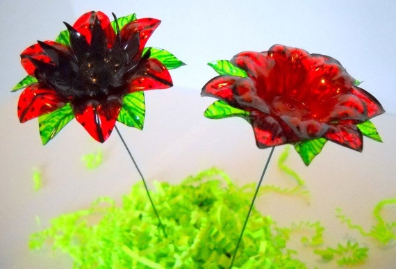 Red and Black Flowers Made of Recycled Water Bottles