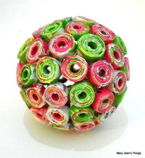 Paper Ball Ornament Repurposed from Toy Catalog Pink/Green OOAK Free Shipping