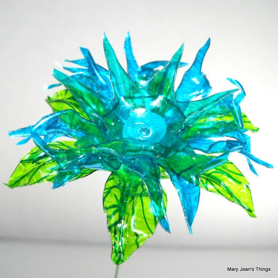 Upcycled  Blue Spiky Fantasy Flower Made of Plastic Water Bottles