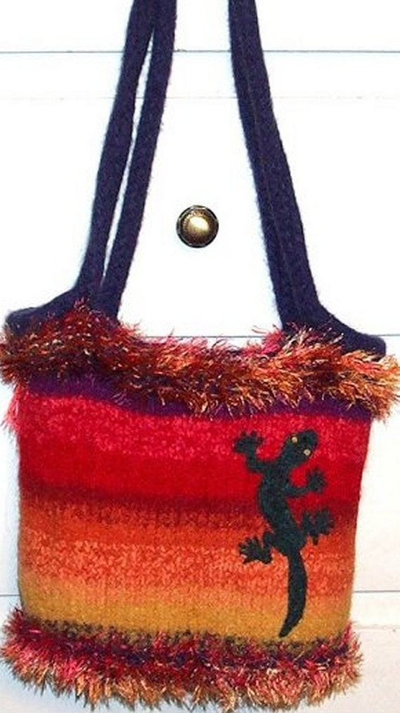 Crochet Felted Tote Bag Pattern : Items similar to Knitted and Felted Wool Tote Bag PATTERN ...