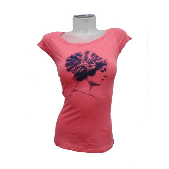 medium salmon scoop neck updo victorian tee