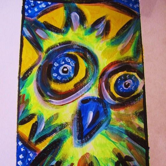 Hoot Hoot You woodland folkart owl original painting