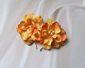 Up Do Bobby Pins or Bobbies with Fluttery Silk Flower Petals in Oranges (set of 2)