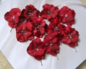 Up Do Bobby Pins or Bobbies with Hydrangea Petals in Red (set of 10)