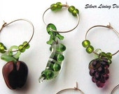 Wine Glass Charms - Lampwork Glass Fruits and Vegetables (you pick 6)