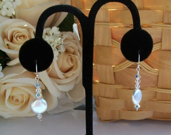 White Coin Pearl and Swarovski Crystal Earrings, Bride, Bridal