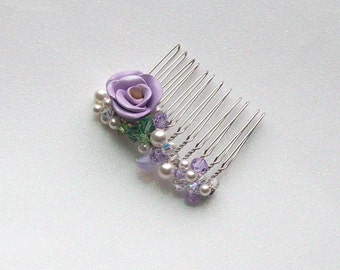 Bridesmaid or Flower Girl Hair Comb in Lavenders - Garden Rose, Pearl and Crystal Spray