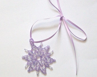 FROZEN Irridescent Purple Lavender Beaded Snowflake Ornament with Swarovski Crystals