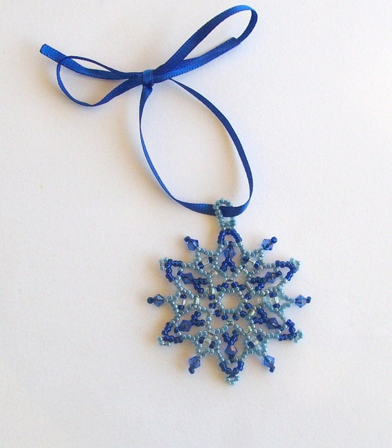 Royal and Ice Blue Beaded Snowflake Ornament with Swarovski Crystals