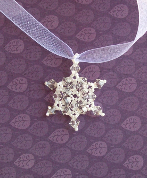 Clear Swarovski Crystal Hand-Stitched Snowflake Pendant