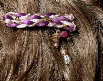 ROYAL - Violet, Lilac, Gold Braid, Rock Crystal - Medium French Clip