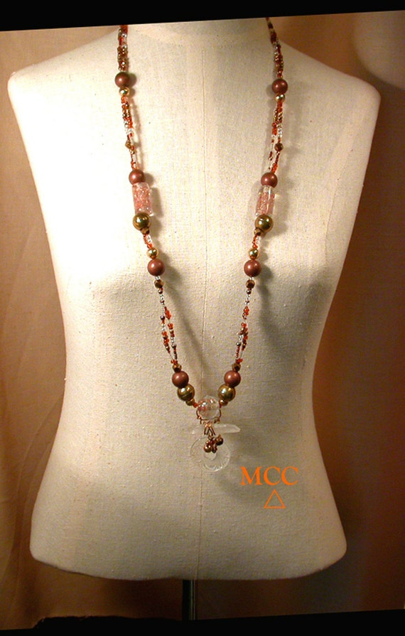 MAYFLOWER Necklace - Natural and Carved Rock Crystal, Copper in Glass Beads, Copper and Glass Beads