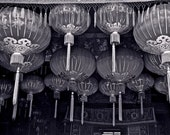 PHOTOGRAPH Black and white  hanging Chinese lanterns abstract Chinese temple Asia temples travel