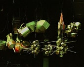 """Photograph abstract hanging still life red lime green silver black hanging pots and pans Photograph Asia  """"PUSHING TIN""""  travel"""