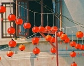 red  turquoise Chinese New Year lanterns photograph Chinatown Asia hanging celebratory lanterns abstract
