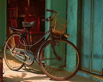 bicycle Turquoise and black, Malaysia 8 X 10 photograph