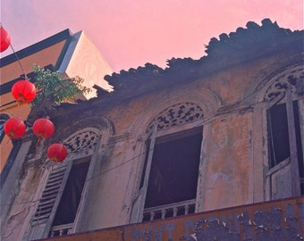 pink purple cream reds photograph Chinese windows and red lanterns from Malaysian Chinatown Chinese