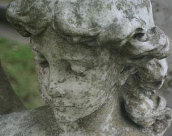angel cemetery photogarph gray white face