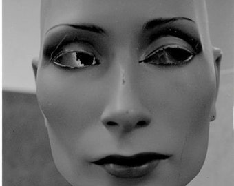 Black and White Mannequin photograph  head spooky freaky weird abstract face STRAIGHT ON