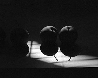 black and white Asian pears photograph abstract  fruit shadows and textures dramatic