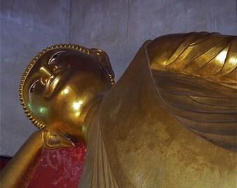 "Buddha Gold lavender violet photograph reclining Buddha  Buddhist  Asia travel ""REPOSE"" wall decor decorative art"