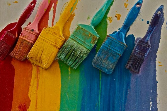 Items Similar To Rainbow Brushes Red Yellow Blue Green Wall Paint Brushes Photograph Primrary Colors Wall Art Greece Greek Travel On Etsy
