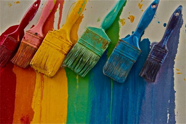 Rainbow Brushes Red Yellow Blue Green Wall Paint Brushes