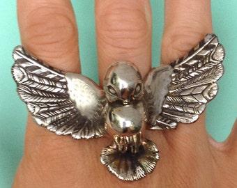 Bird Ring, silver gold birdie
