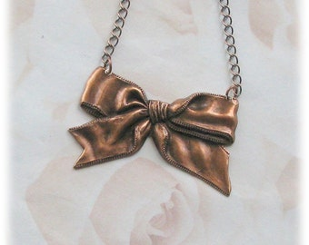 copper necklace, copper chain, bow necklace, antique copper, wire wrapped necklace Tie One On Copper OX  Bow  Pendant Chain Necklace