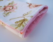 40% OFF SHOP SALE code take40, Baby Girl Minky Burp Cloth / Peony