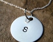 CUSTOM Hand Stamped Initial Necklace - Medium Font