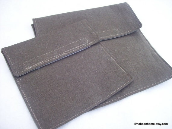 Reusable sandwich bag/snack bag set with velcro flap in dark brown hemp--FREE SHIPPING