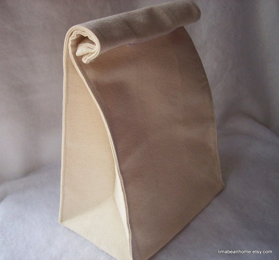 Reusable canvas lunch bag--FREE SHIPPING. Earth Day Special