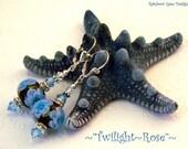 Twilight Rose - Artisan Periwinkle Encased Flower Lampwork Bead with Swarovski Crystal Sterling Silver Earrings ...... SRAJD 1373
