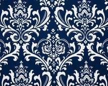 NAVY DAMASK YARDAGE , Navy Blue and White damask Fabric, Blue damask fabric,  By the Yard, blue fabric, navy blue yardage, blue damask decor