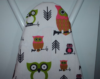 OWLS fuchsia and lime chartreuse hot pink ironing Board cover bird