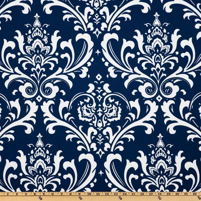Navy Damask Yardage Navy Blue And White Damask Fabric Blue