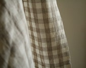 brown and cream LINEN FABRIC with check pattern. supplies by runningthreads