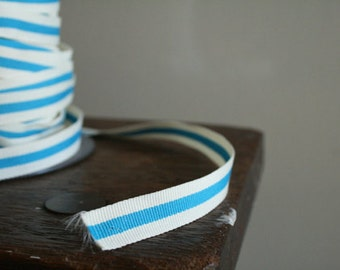 3 meter COTTON TAPE with blue and white stripe.
