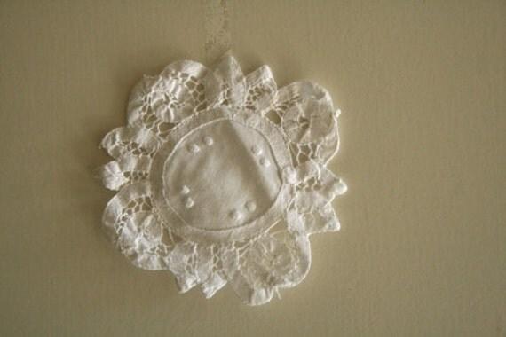 WHITE CROTCHET cotton DOILY