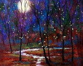 Firefly and Moonlight with rushing stream print  B2g1free-13 x 19