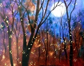 Harvest moon and fireflys PRINT   by Vadal   8x10 b3g1 free